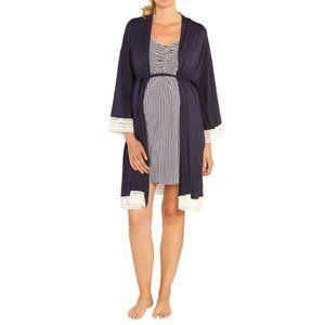NWT Angel Maternity Crochet Trim Nursing Robe Navy